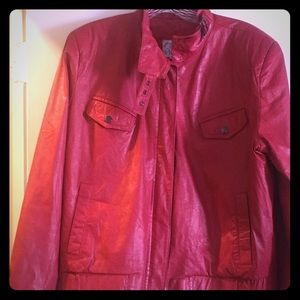 Jackets & Blazers - 💄Genuine leather cover works size 12 red❤️